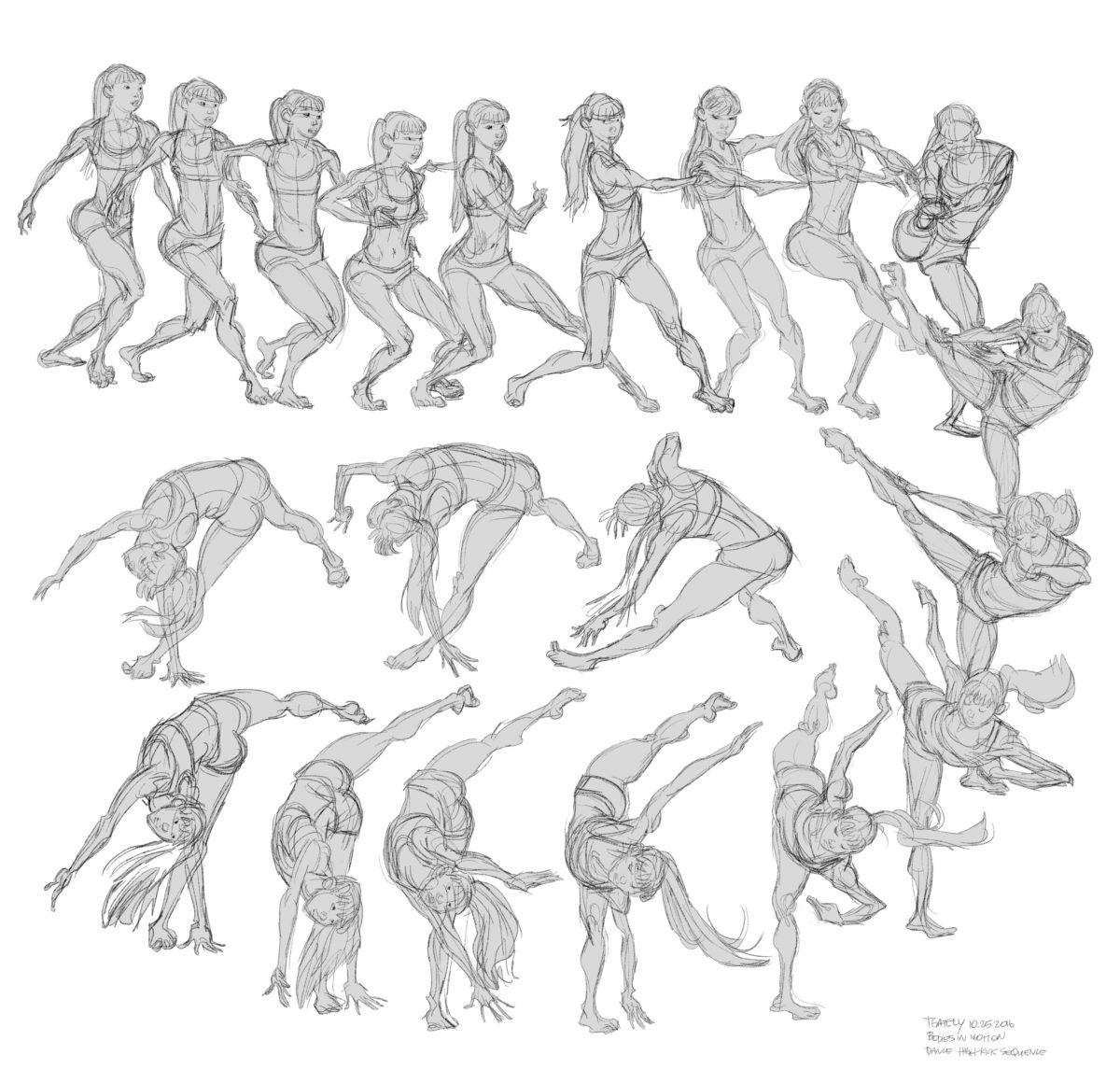 Gesture drawings from Pixar Animator Tom Gately using Bodies in Motion