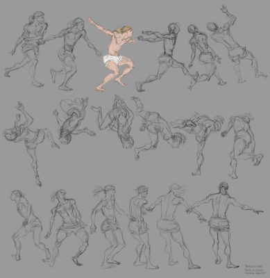 Tom Gately Freerun front flip gesture drawing